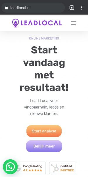 Lead Local mobiele weergave